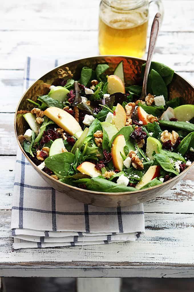 Apple Cranberry Walnut Salad - Creme De La Crumb